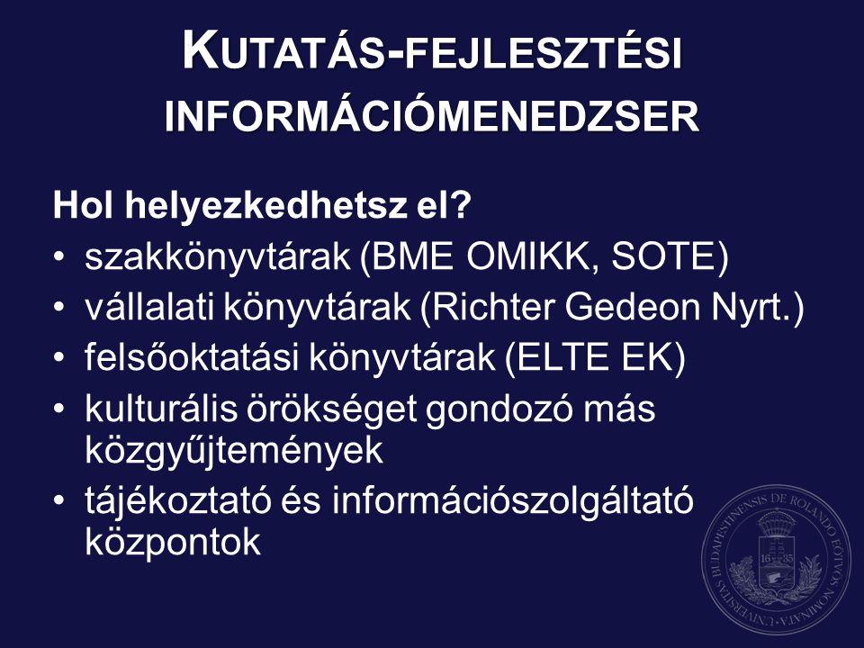 Hol helyezkedhetsz el? szakkönyvtárak (BME OMIKK, SOTE) vállalati könyvtárak (Richter Gedeon Nyrt.) felsőoktatási könyvtárak (ELTE EK) kulturális örök