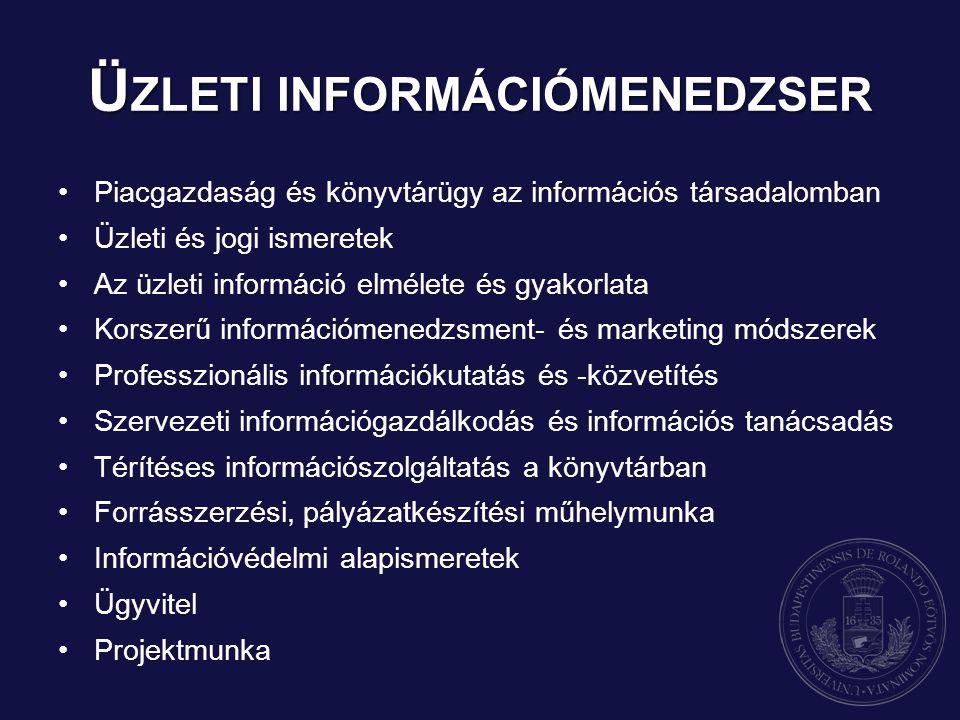 Piacgazdaság és könyvtárügy az információs társadalomban Üzleti és jogi ismeretek Az üzleti információ elmélete és gyakorlata Korszerű információmenedzsment- és marketing módszerek Professzionális információkutatás és -közvetítés Szervezeti információgazdálkodás és információs tanácsadás Térítéses információszolgáltatás a könyvtárban Forrásszerzési, pályázatkészítési műhelymunka Információvédelmi alapismeretek Ügyvitel Projektmunka