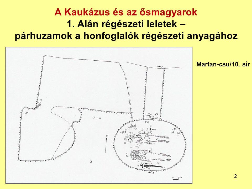A Kaukázus és az ősmagyarok 1. Alán régészeti leletek – párhuzamok a honfoglalók régészeti anyagához Martan-csu/10. sír 2