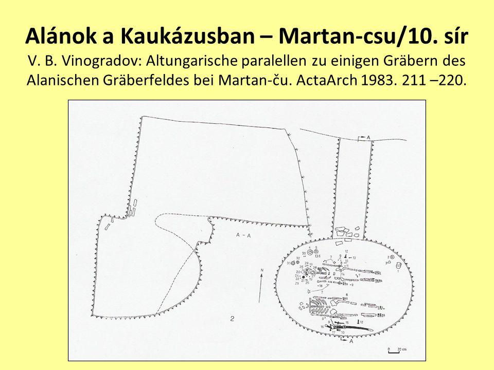 Alánok a Kaukázusban – Martan-csu/10. sír V. B. Vinogradov: Altungarische paralellen zu einigen Gräbern des Alanischen Gräberfeldes bei Martan-ču. Act