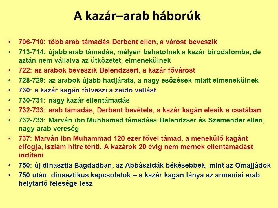 706-710: több arab támadás Derbent ellen, a várost beveszik 713-714: újabb arab támadás, mélyen behatolnak a kazár birodalomba, de aztán nem vállalva