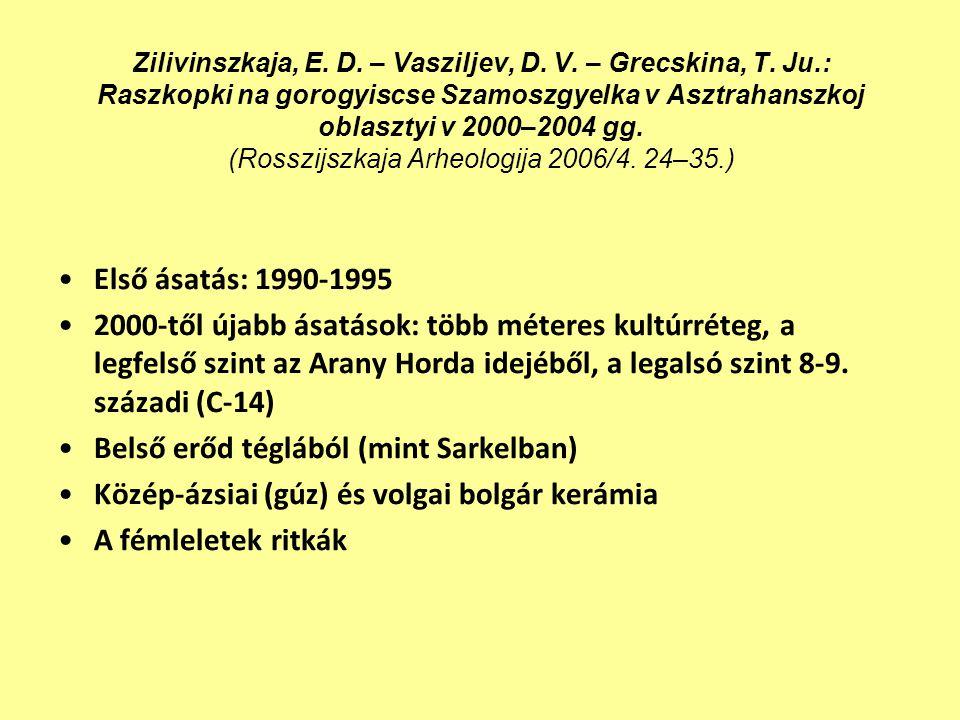 Zilivinszkaja, E. D. – Vasziljev, D. V. – Grecskina, T. Ju.: Raszkopki na gorogyiscse Szamoszgyelka v Asztrahanszkoj oblasztyi v 2000–2004 gg. (Rosszi