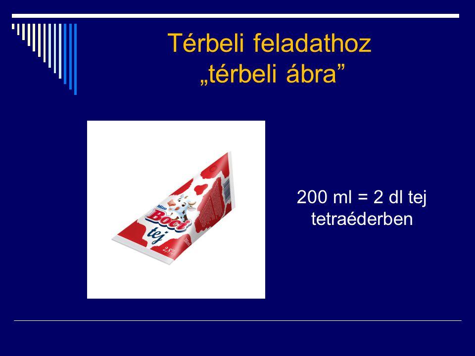 """Térbeli feladathoz """"térbeli ábra"""" 200 ml = 2 dl tej tetraéderben"""