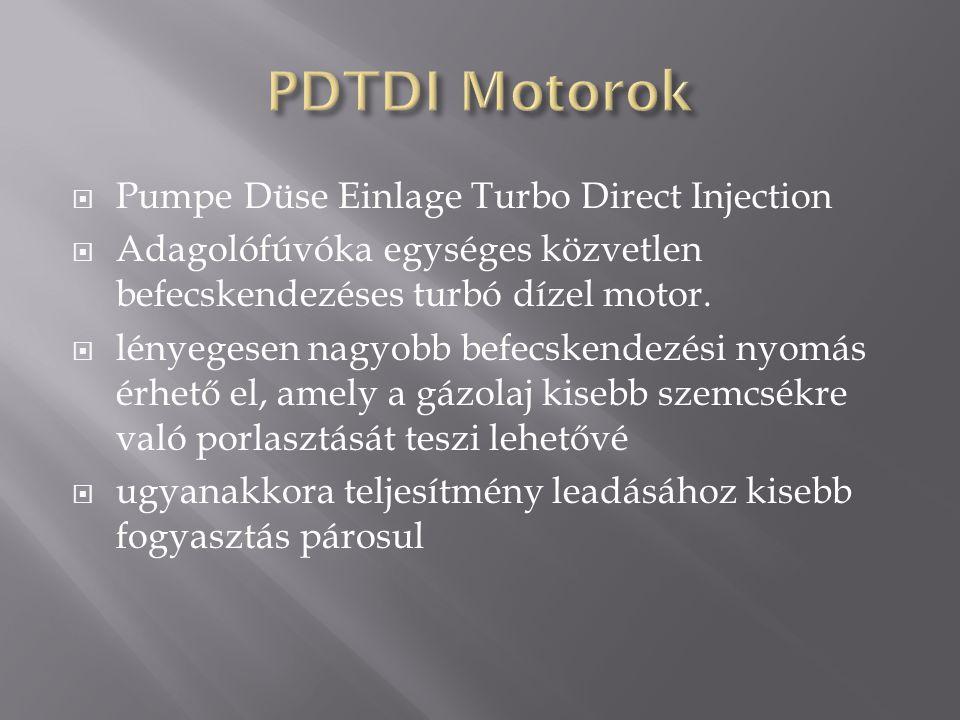  Pumpe Düse Einlage Turbo Direct Injection  Adagolófúvóka egységes közvetlen befecskendezéses turbó dízel motor.  lényegesen nagyobb befecskendezés