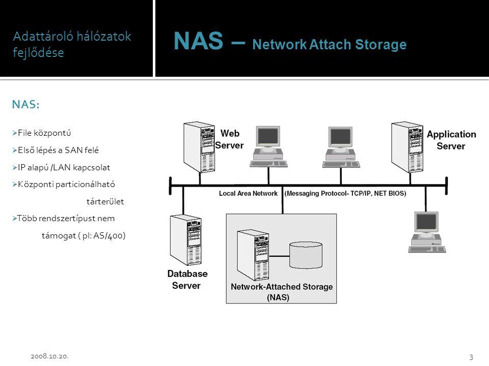 Adattároló hálózatok fejlődése NAS:  File központú  Első lépés a SAN felé  IP alapú /LAN kapcsolat  Központi particionálható tárterület  Több ren