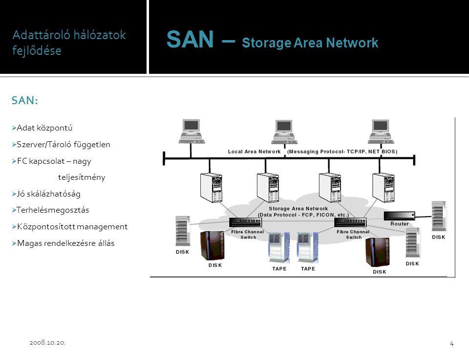 Adattároló hálózatok fejlődése SAN:  Adat központú  Szerver/Tároló független  FC kapcsolat – nagy teljesítmény  Jó skálázhatóság  Terhelésmegoszt