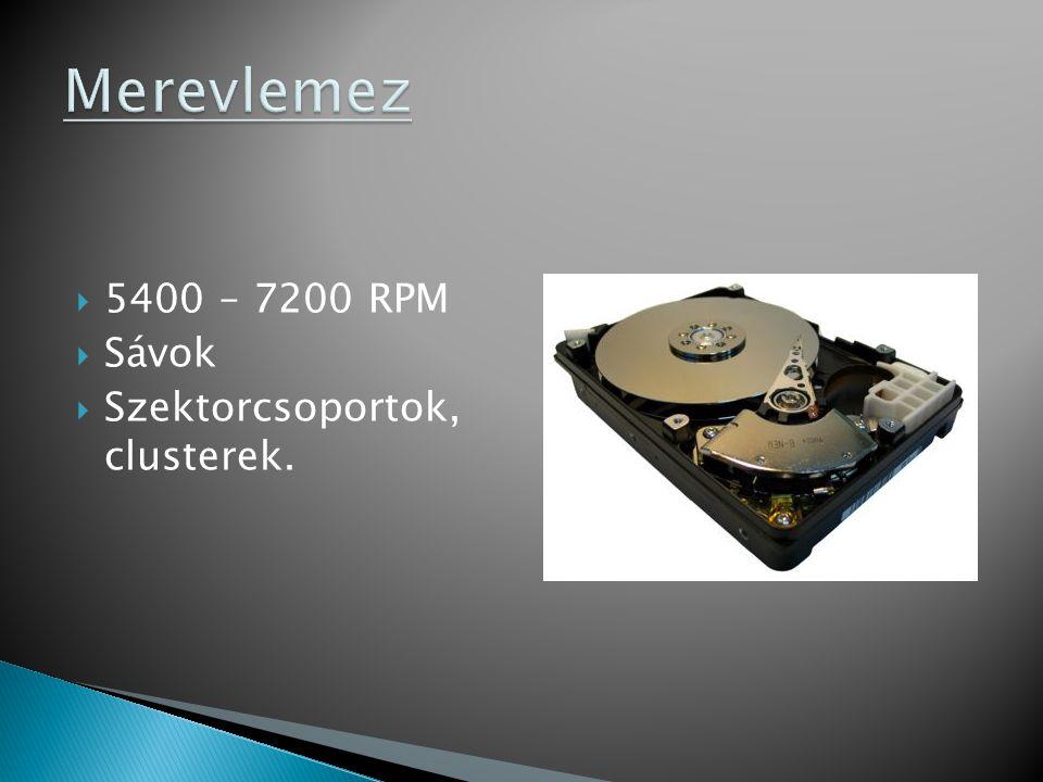  5400 – 7200 RPM  Sávok  Szektorcsoportok, clusterek.