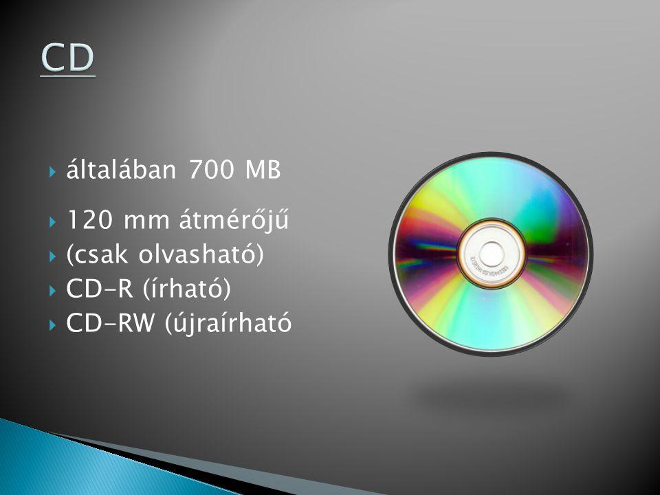  általában 700 MB  120 mm átmérőjű  (csak olvasható)  CD-R (írható)  CD-RW (újraírható