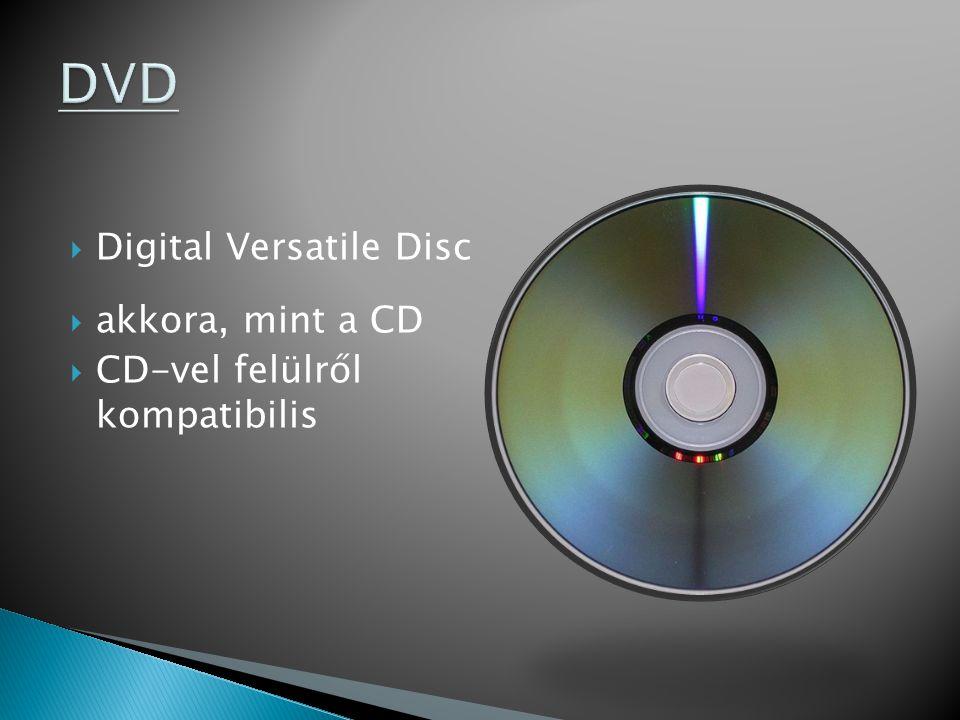  Digital Versatile Disc  akkora, mint a CD  CD-vel felülről kompatibilis