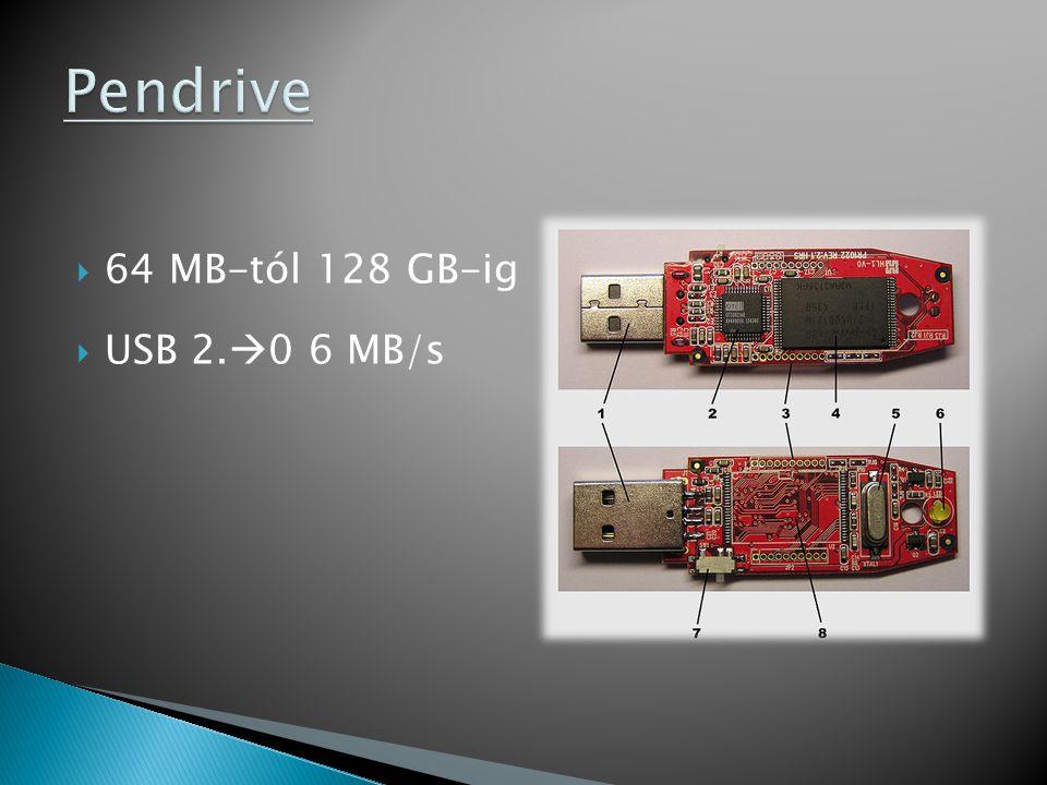  64 MB-tól 128 GB-ig  USB 2.  0 6 MB/s