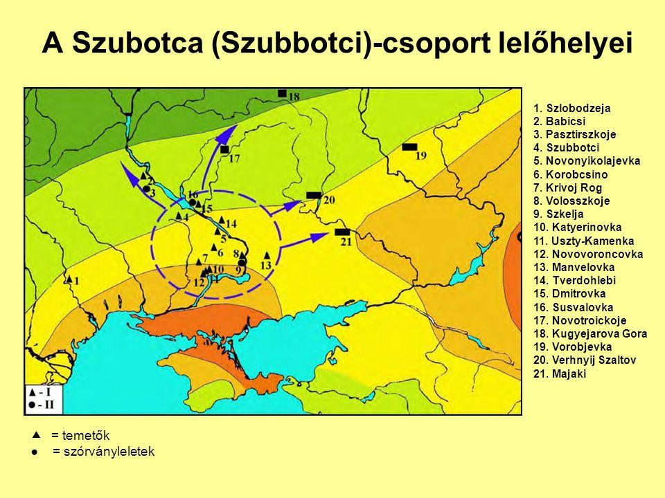 A Szubotca (Szubbotci)-csoport lelőhelyei 1. Szlobodzeja 2. Babicsi 3. Pasztirszkoje 4. Szubbotci 5. Novonyikolajevka 6. Korobcsino 7. Krivoj Rog 8. V