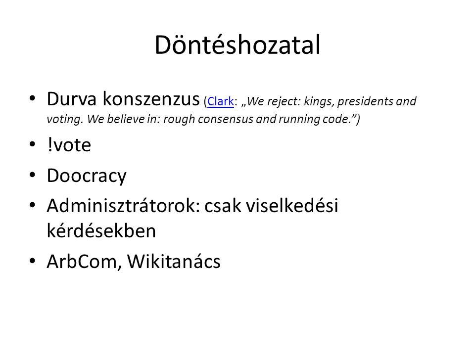 "Döntéshozatal Durva konszenzus (Clark: ""We reject: kings, presidents and voting."