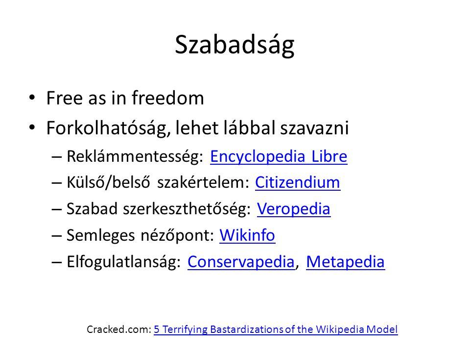 Szabadság Free as in freedom Forkolhatóság, lehet lábbal szavazni – Reklámmentesség: Encyclopedia LibreEncyclopedia Libre – Külső/belső szakértelem: CitizendiumCitizendium – Szabad szerkeszthetőség: VeropediaVeropedia – Semleges nézőpont: WikinfoWikinfo – Elfogulatlanság: Conservapedia, MetapediaConservapediaMetapedia Cracked.com: 5 Terrifying Bastardizations of the Wikipedia Model5 Terrifying Bastardizations of the Wikipedia Model