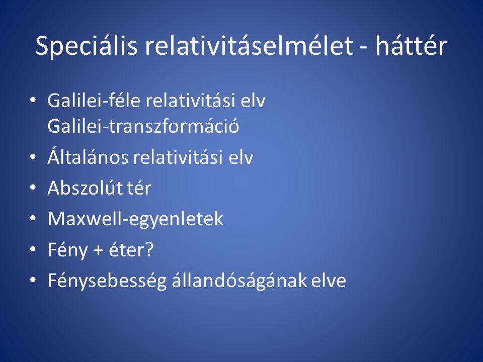 Speciális relativitáselmélet - háttér Galilei-féle relativitási elv Galilei-transzformáció Általános relativitási elv Abszolút tér Maxwell-egyenletek Fény + éter.