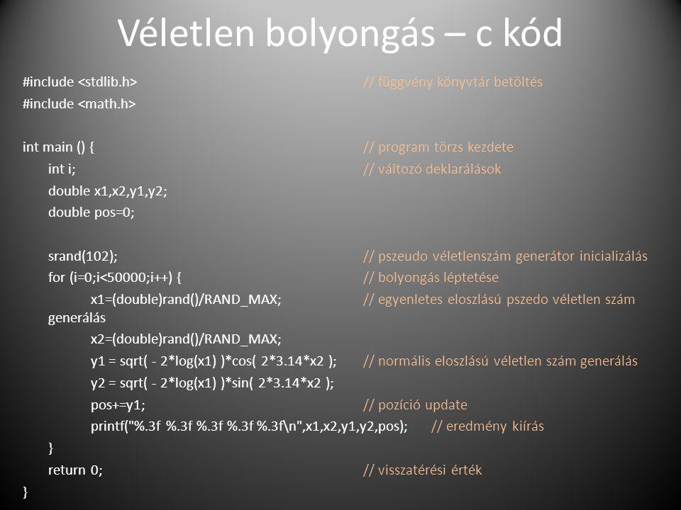 Véletlen bolyongás – c kód #include // függvény könyvtár betöltés #include int main () {// program törzs kezdete int i;// változó deklarálások double