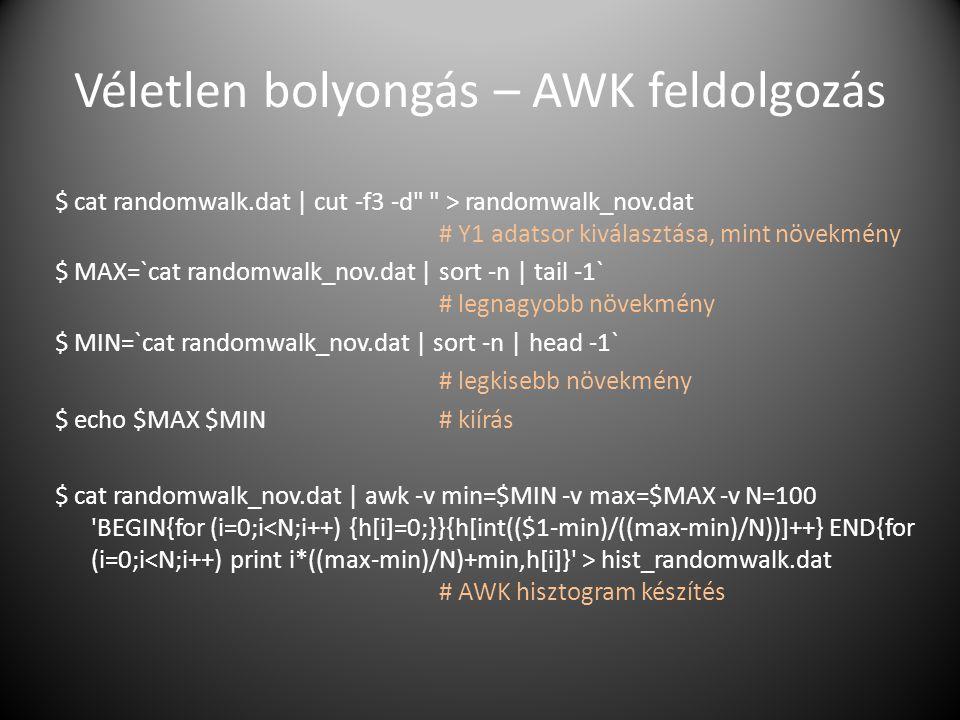 Véletlen bolyongás – AWK feldolgozás $ cat randomwalk.dat | cut -f3 -d