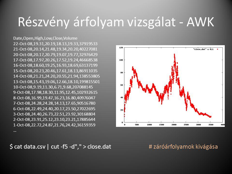 Részvény árfolyam vizsgálat - AWK $ cat data.csv   cut -f5 -d