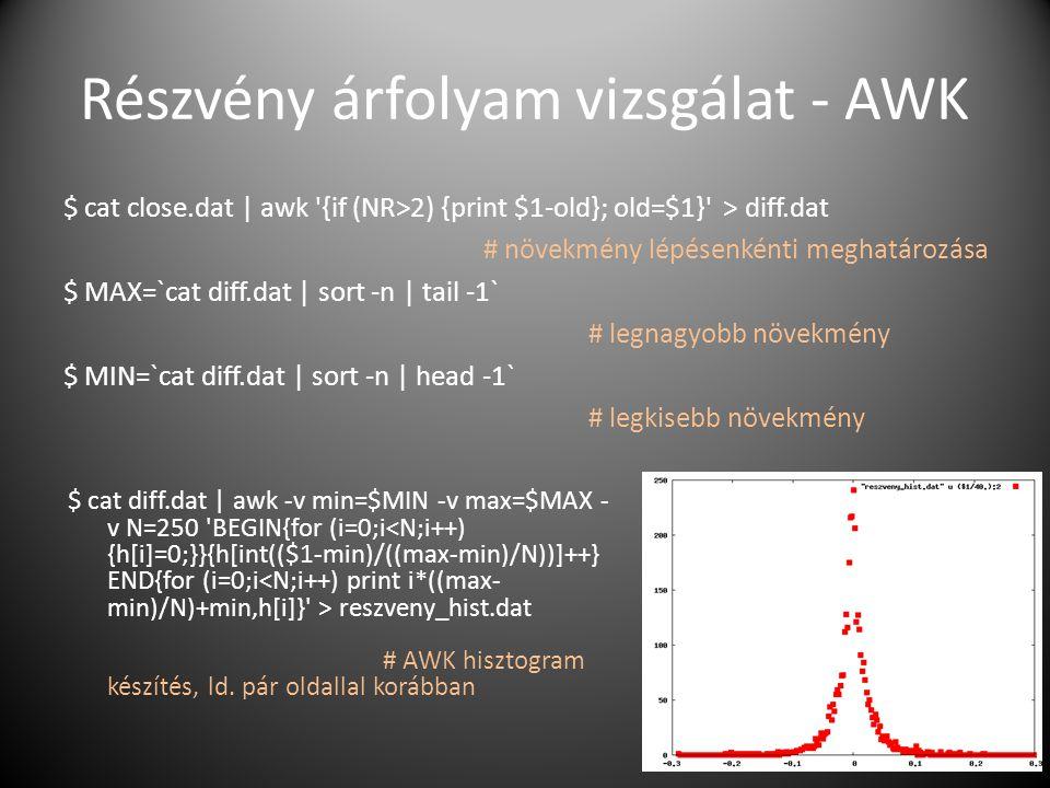 Részvény árfolyam vizsgálat - AWK $ cat close.dat | awk '{if (NR>2) {print $1-old}; old=$1}' > diff.dat # növekmény lépésenkénti meghatározása $ MAX=`