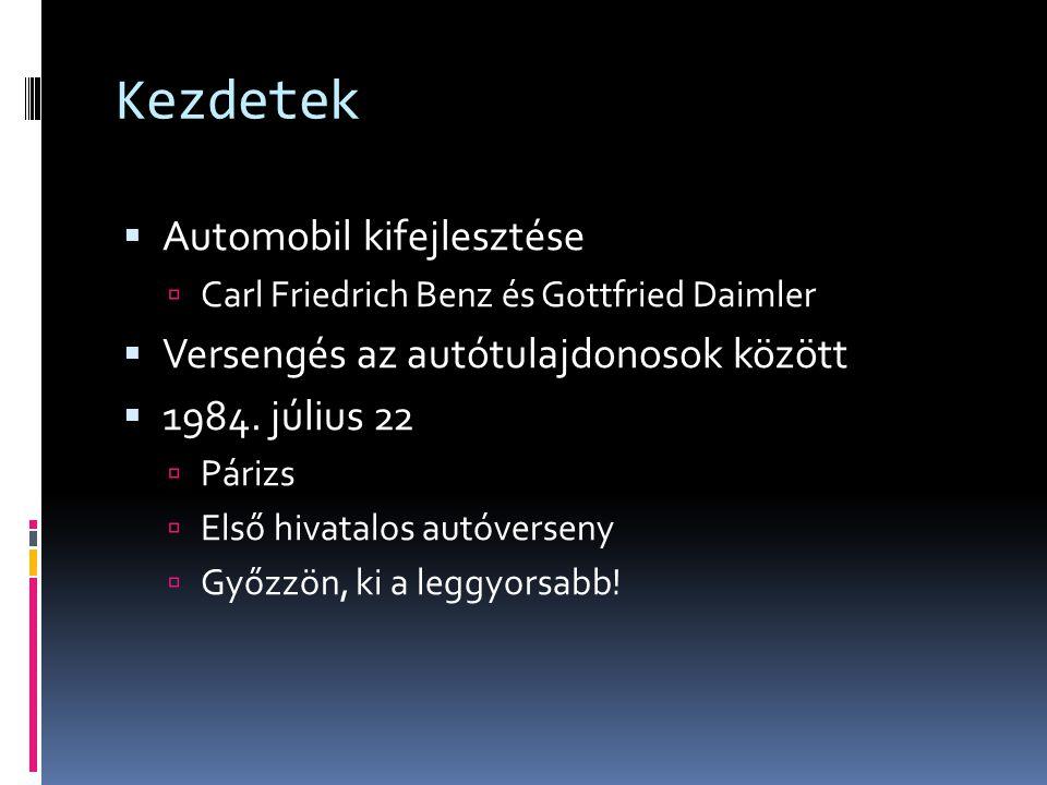Kezdetek  Automobil kifejlesztése  Carl Friedrich Benz és Gottfried Daimler  Versengés az autótulajdonosok között  1984. július 22  Párizs  Első