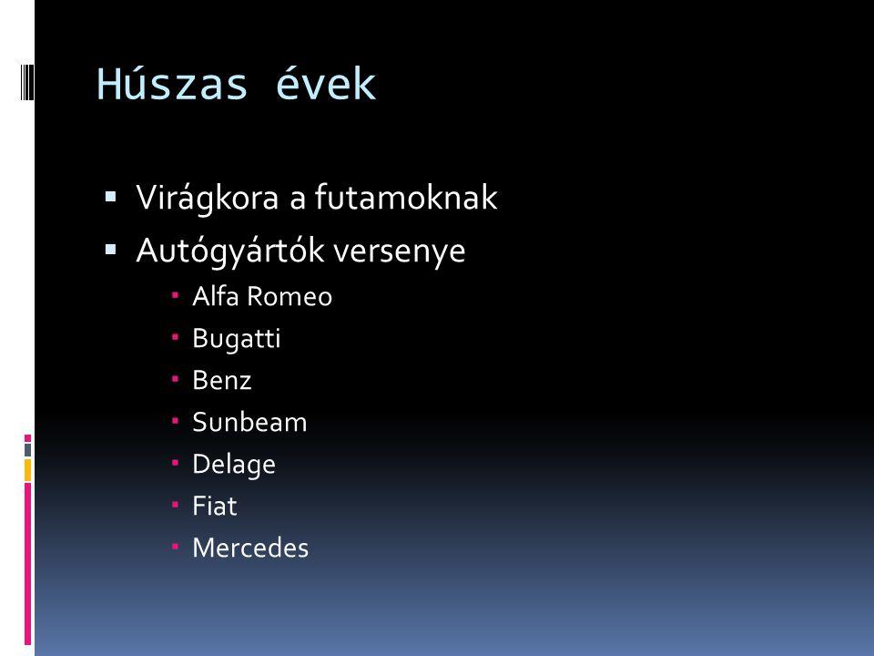 Húszas évek  Virágkora a futamoknak  Autógyártók versenye  Alfa Romeo  Bugatti  Benz  Sunbeam  Delage  Fiat  Mercedes