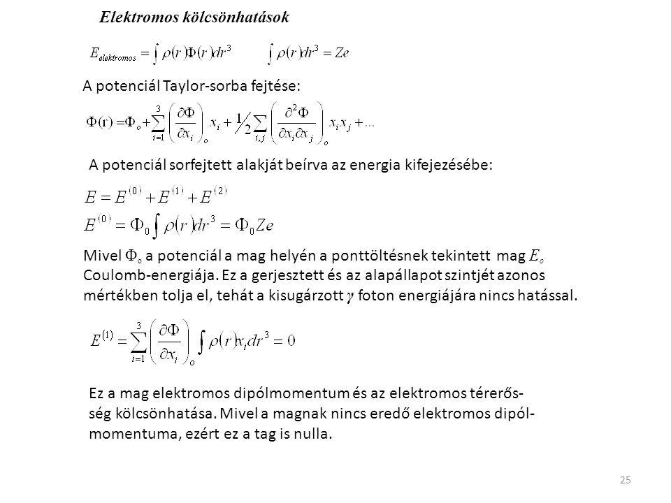25 Elektromos kölcsönhatások A potenciál Taylor-sorba fejtése: A potenciál sorfejtett alakját beírva az energia kifejezésébe: Mivel Φ o a potenciál a
