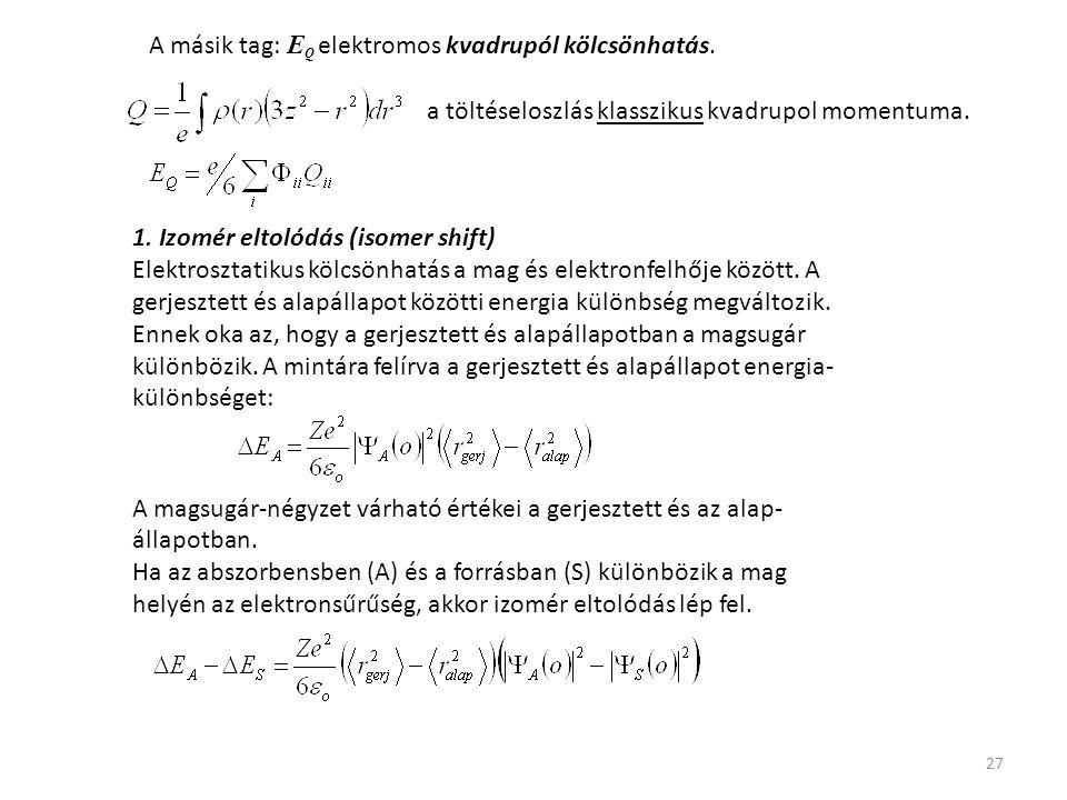 27 A másik tag: E Q elektromos kvadrupól kölcsönhatás. a töltéseloszlás klasszikus kvadrupol momentuma. 1. Izomér eltolódás (isomer shift) Elektroszta