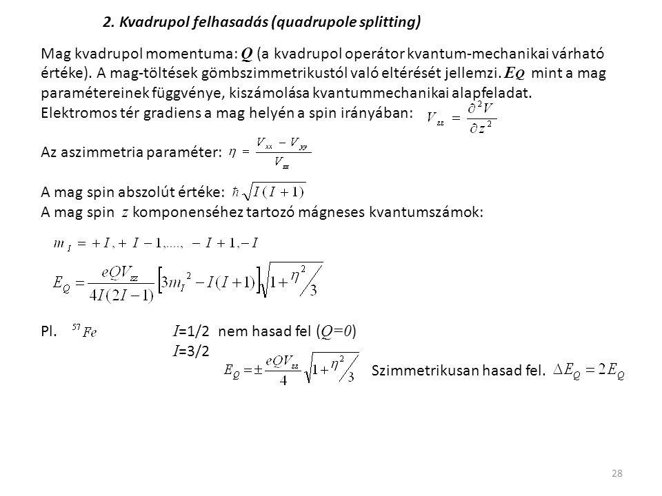 28 2. Kvadrupol felhasadás (quadrupole splitting) Mag kvadrupol momentuma: Q (a kvadrupol operátor kvantum-mechanikai várható értéke). A mag-töltések
