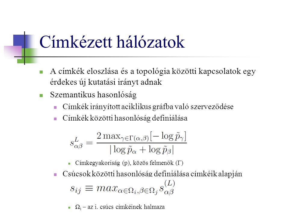 Címkézett hálózatok A címkék eloszlása és a topológia közötti kapcsolatok egy érdekes új kutatási irányt adnak Szemantikus hasonlóság Címkék irányított aciklikus gráfba való szerveződése Címkék közötti hasonlóság definiálása Címkegyakoriság (p), közös felmenők (Γ) Csúcsok közötti hasonlóság definiálása címkéik alapján Ω i – az i.