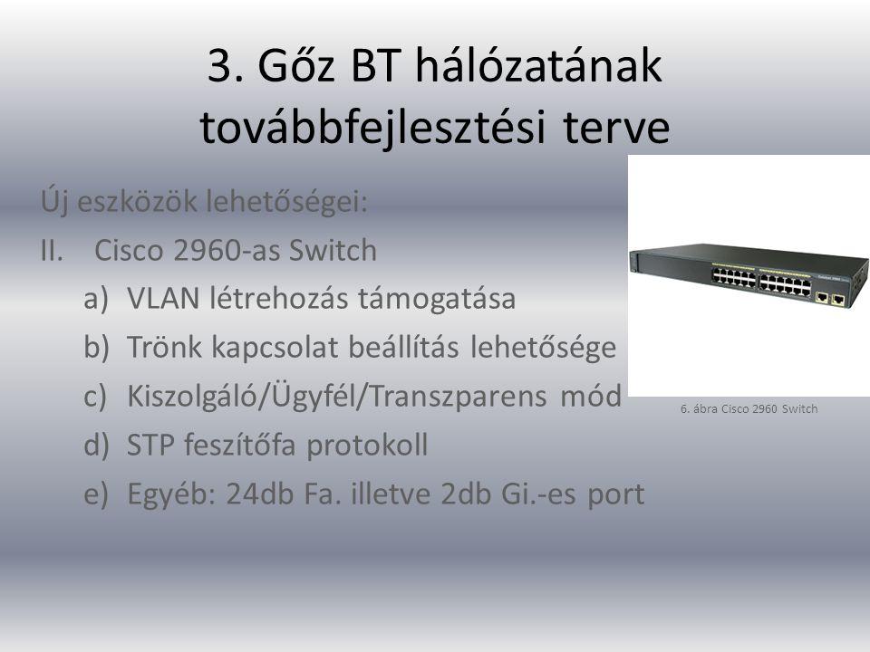 3. Gőz BT hálózatának továbbfejlesztési terve Új eszközök lehetőségei: II.Cisco 2960-as Switch a)VLAN létrehozás támogatása b)Trönk kapcsolat beállítá