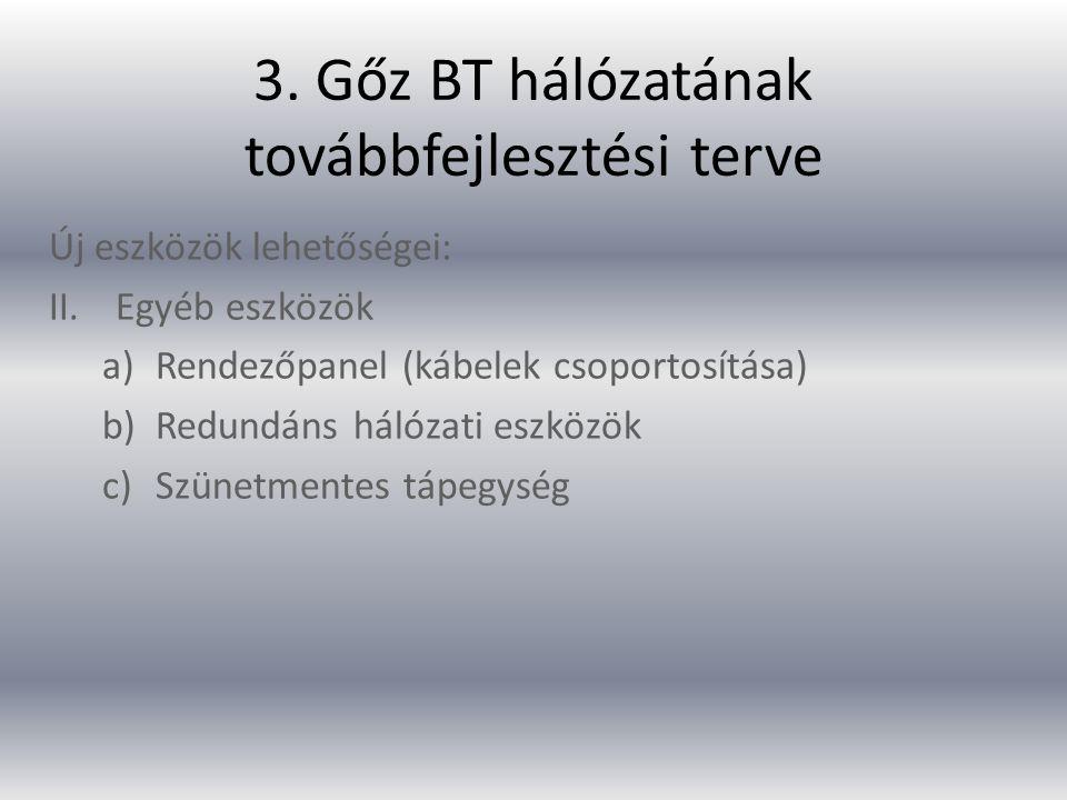 3. Gőz BT hálózatának továbbfejlesztési terve Új eszközök lehetőségei: II.Egyéb eszközök a)Rendezőpanel (kábelek csoportosítása) b)Redundáns hálózati