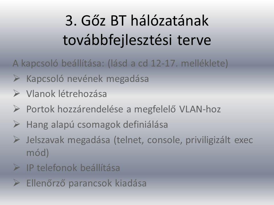3.Gőz BT hálózatának továbbfejlesztési terve A kapcsoló beállítása: (lásd a cd 12-17.