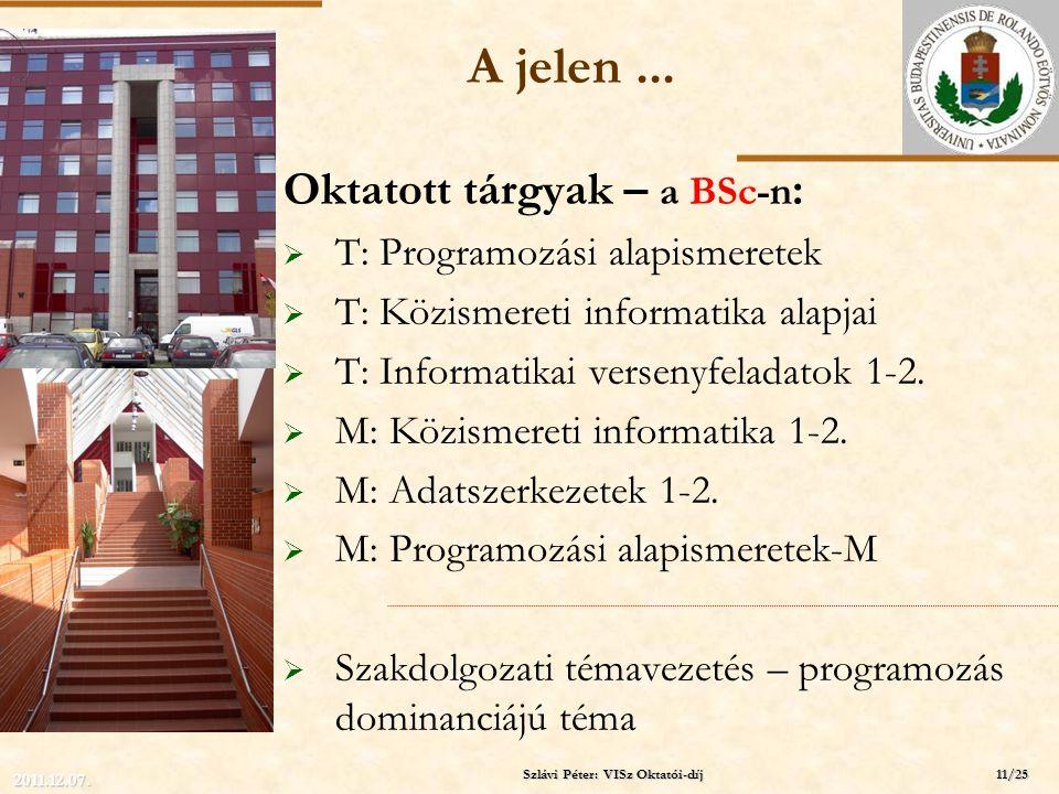 ELTE A jelen... Oktatott tárgyak – a BSc-n :  T: Programozási alapismeretek  T: Közismereti informatika alapjai  T: Informatikai versenyfeladatok 1