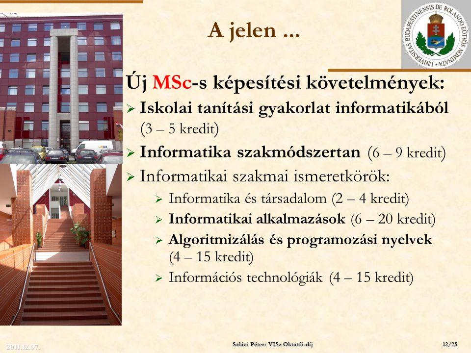 ELTE A jelen... Új MSc-s képesítési követelmények:  Iskolai tanítási gyakorlat informatikából ( 3 – 5 kredit )  Informatika szakmódszertan ( 6 – 9 k