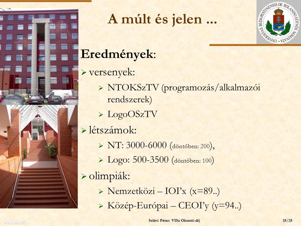 ELTE A múlt és jelen... Eredmények:  versenyek:  NTOKSzTV (programozás/alkalmazói rendszerek)  LogoOSzTV  létszámok:  NT: 3000-6000 ( döntőben: 2