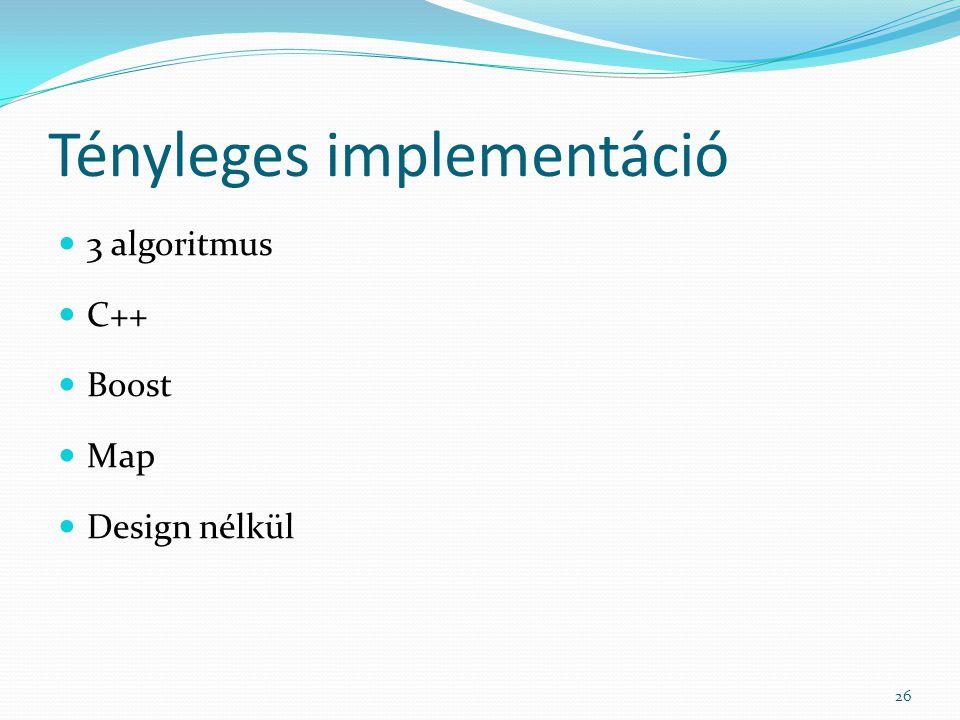 Tényleges implementáció 3 algoritmus C++ Boost Map Design nélkül 26