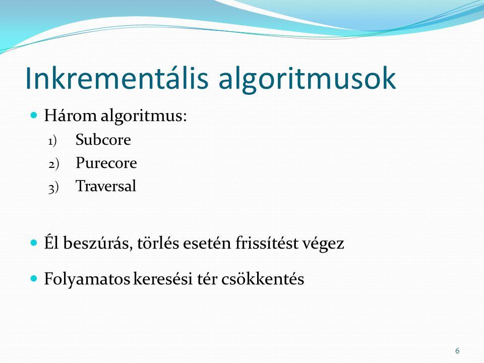 Inkrementális algoritmusok Három algoritmus: 1) Subcore 2) Purecore 3) Traversal Él beszúrás, törlés esetén frissítést végez Folyamatos keresési tér csökkentés 6