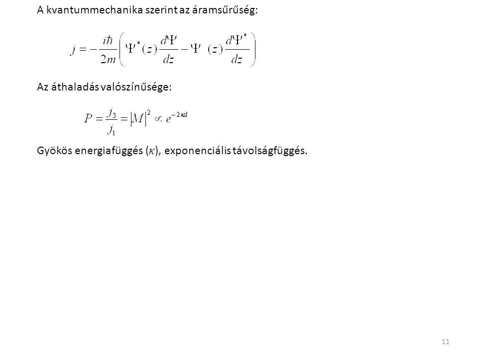 11 A kvantummechanika szerint az áramsűrűség: Az áthaladás valószínűsége: Gyökös energiafüggés ( κ ), exponenciális távolságfüggés.