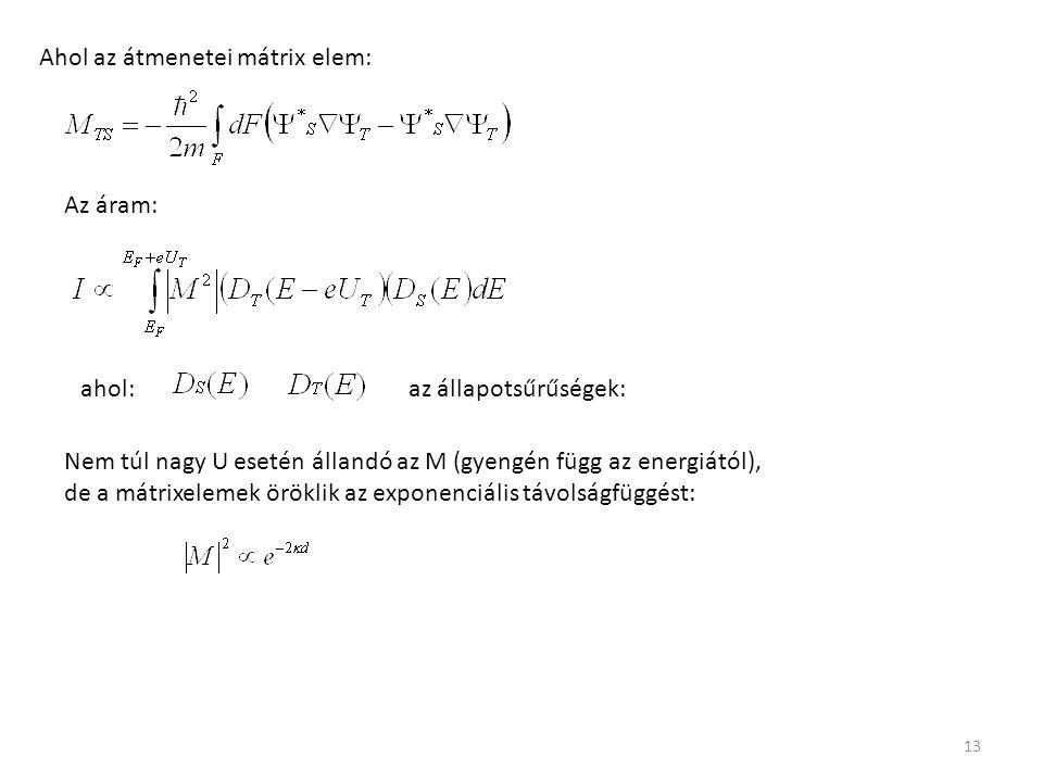 13 Ahol az átmenetei mátrix elem: Az áram: ahol:az állapotsűrűségek: Nem túl nagy U esetén állandó az M (gyengén függ az energiától), de a mátrixelemek öröklik az exponenciális távolságfüggést: