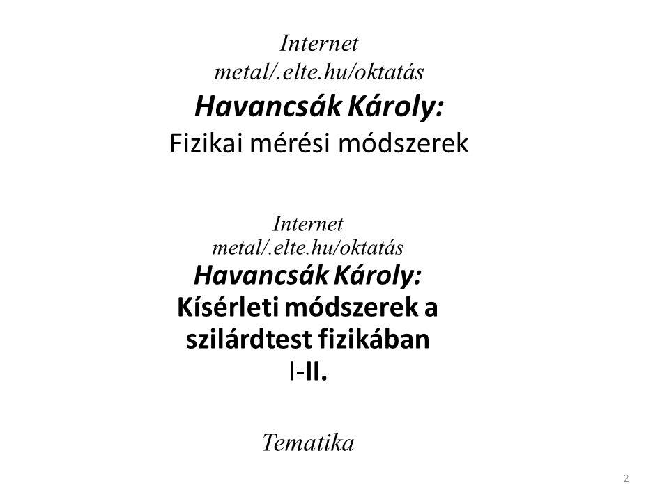 2 Internet metal/.elte.hu/oktatás Havancsák Károly: Kísérleti módszerek a szilárdtest fizikában I-II. Tematika Internet metal/.elte.hu/oktatás Havancs