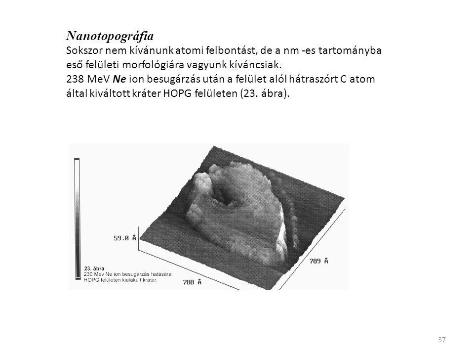 37 Nanotopográfia Sokszor nem kívánunk atomi felbontást, de a nm -es tartományba eső felületi morfológiára vagyunk kíváncsiak. 238 MeV Ne ion besugárz