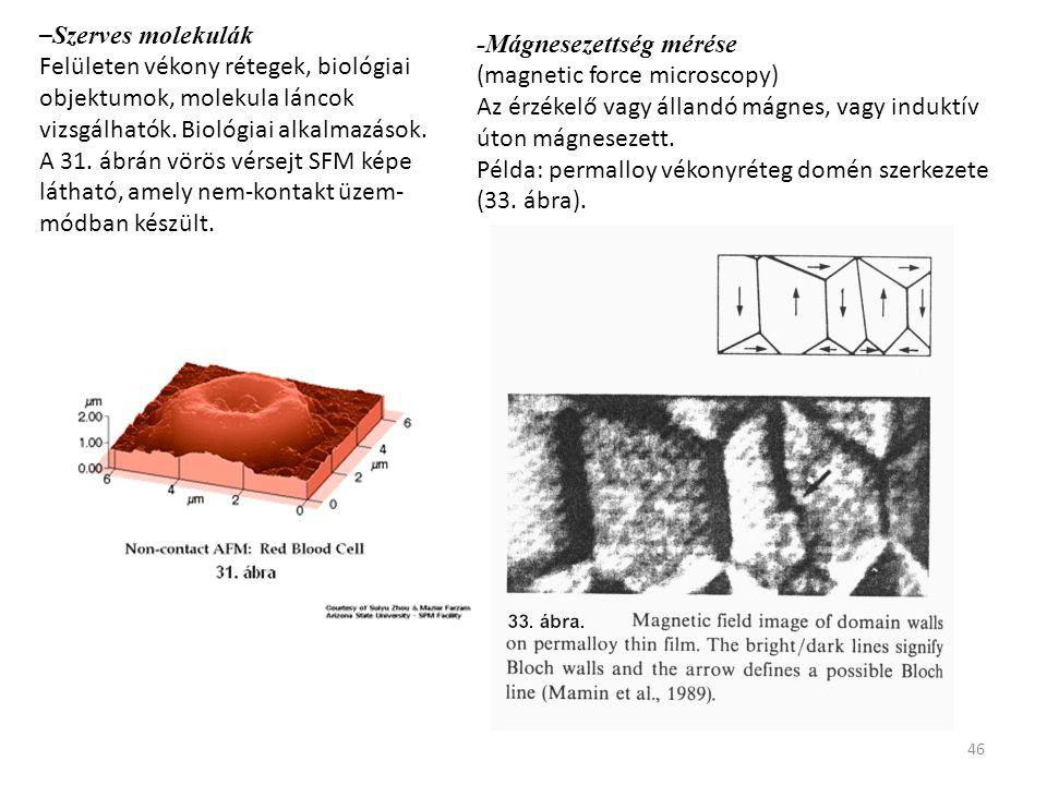 46 – Szerves molekulák Felületen vékony rétegek, biológiai objektumok, molekula láncok vizsgálhatók. Biológiai alkalmazások. A 31. ábrán vörös vérsejt