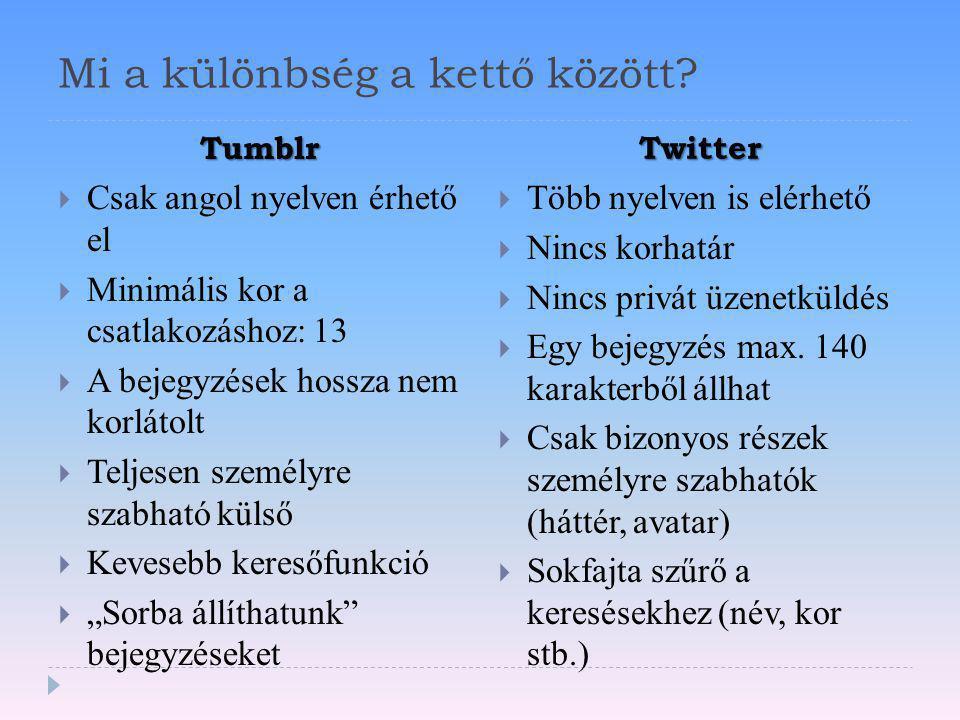Mi a különbség a kettő között? Tumblr Twitter  Csak angol nyelven érhető el  Minimális kor a csatlakozáshoz: 13  A bejegyzések hossza nem korlátolt