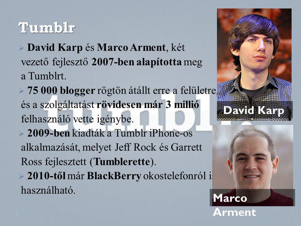 Tumblr  David Karp és Marco Arment, két vezető fejlesztő 2007-ben alapította meg a Tumblrt.  75 000 blogger rögtön átállt erre a felületre, és a szo