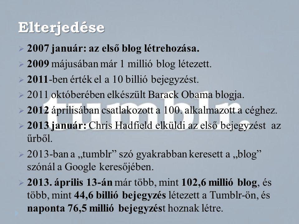 Elterjedése  2007 január: az első blog létrehozása.  2009 májusában már 1 millió blog létezett.  2011-ben érték el a 10 billió bejegyzést.  2011 o