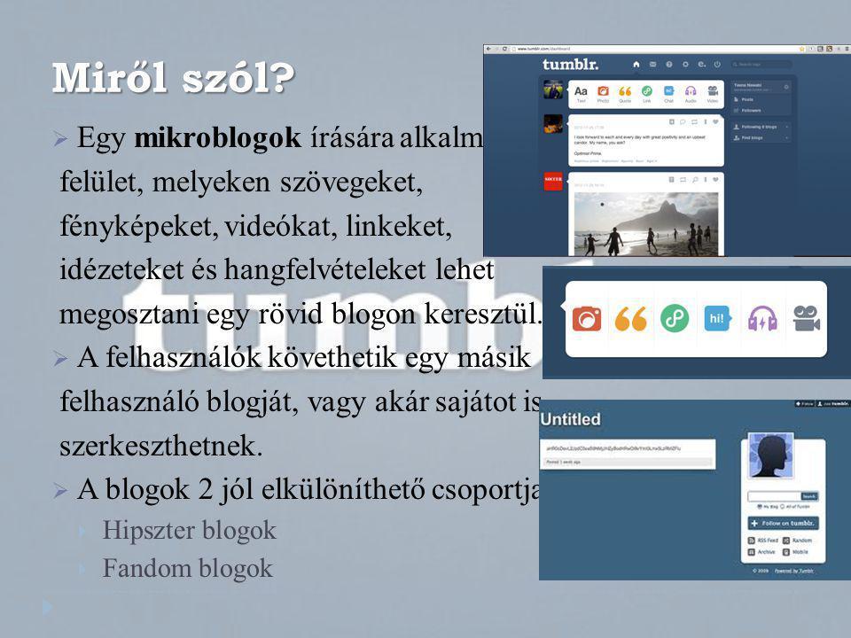 Miről szól?  Egy mikroblogok írására alkalmas felület, melyeken szövegeket, fényképeket, videókat, linkeket, idézeteket és hangfelvételeket lehet meg