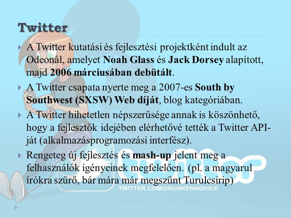 Twitter  A Twitter kutatási és fejlesztési projektként indult az Odeonál, amelyet Noah Glass és Jack Dorsey alapított, majd 2006 márciusában debütált
