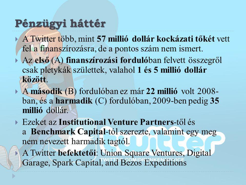Pénzügyi háttér  A Twitter több, mint 57 millió dollár kockázati tőkét vett fel a finanszírozásra, de a pontos szám nem ismert.  Az első (A) finansz