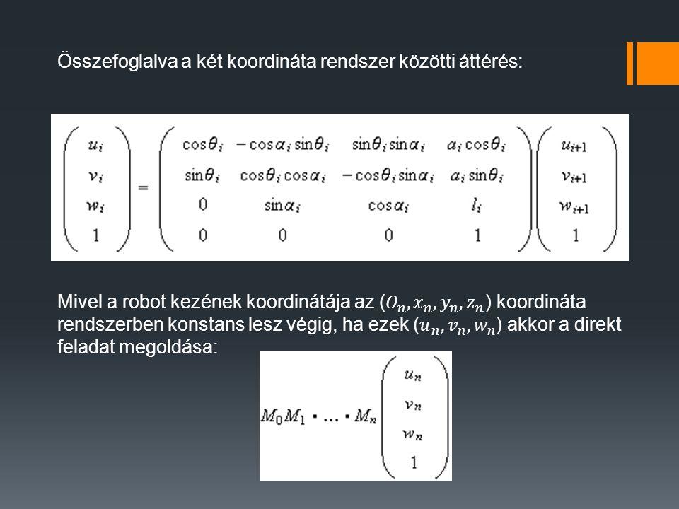 Összefoglalva a két koordináta rendszer közötti áttérés: