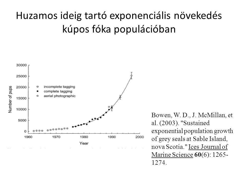 Huzamos ideig tartó exponenciális növekedés kúpos fóka populációban Bowen, W. D., J. McMillan, et al. (2003).