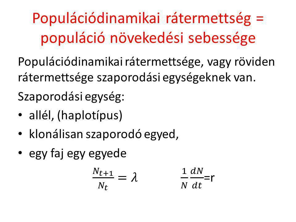 Populációdinamikai rátermettség = populáció növekedési sebessége
